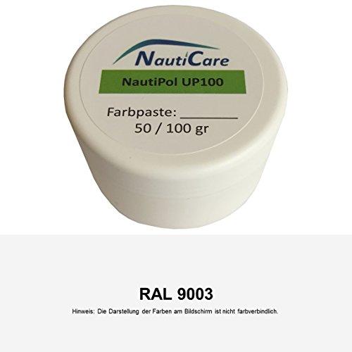 NautiCare NautiPol up 100 Farbpaste 100 g - Farbe Signal-Weiß RAL 9003 - Farb-Paste Zum Einfärben von Polyesterharz - 35 RAL Farben zur Auswahl (Pigment Ml 100)