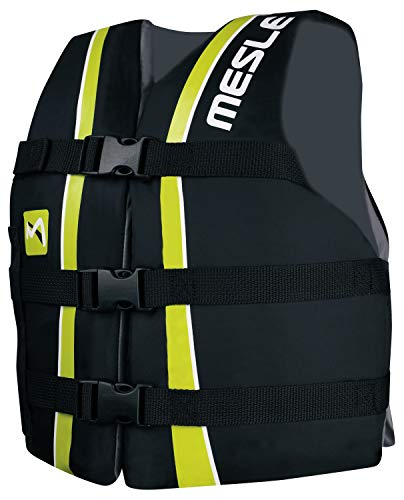 MESLE Universal-Schwimmweste Sportsman Junior, Universalgröße 30-41 kg, 50-N Auftriebsweste Schwimmhilfe Prallschutz, schwarz-Lime, für Kinder und Jugendliche
