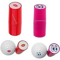 perfk 2 Piezas de Stamper de Pelota de Golf, Marcador de Impresión de Bola de Plástico - Labios + Ojos