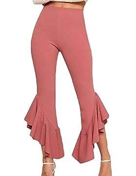 Colpo Pantaloni Donna Elastico High Waist Skinny Tempo Libero Pantaloni Irregular Con Volant Monocromo Classiche...