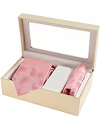 Sir Michele Designer Pink Micro Silk Tie and Pocketsquare Set for Men (Pack of 2)