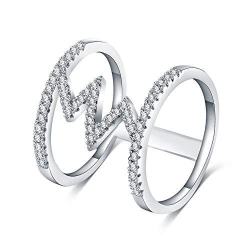 ZNBB Ring Schöne Mode Kreative Zirkon Ring Übertrieben Frauen Ring Schmuck Nummer 9 Platin 1226 Crystal