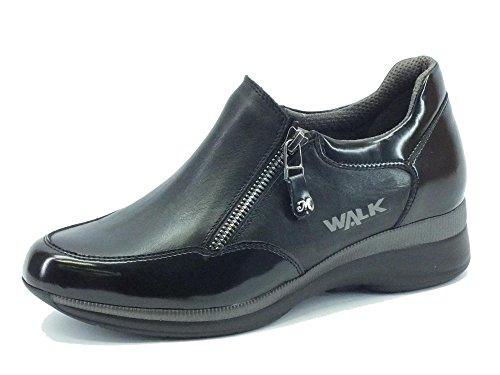 Sneakers Melluso Walk Techno Marina per donna in nappa ed abrasivato nero (Taglia 37)