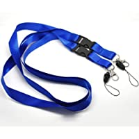 CKB Ltd 50x Detachable Dual Blue Azul Lanyard Laccetto Portabadge Neck Strap Metal & Loop Clip For ID Card
