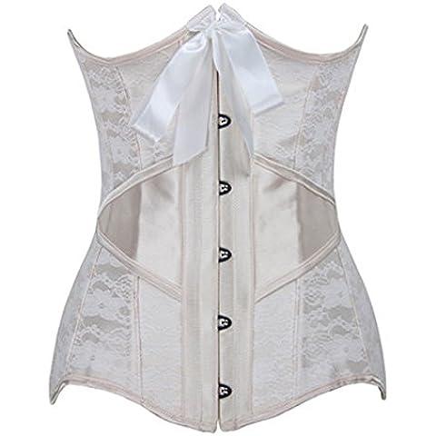 Vita del corsetto di pizzo d'acciaio di acciaio sexy Europa clip corsetto corsetto poliestere cintura per le donne , apricot , xxl