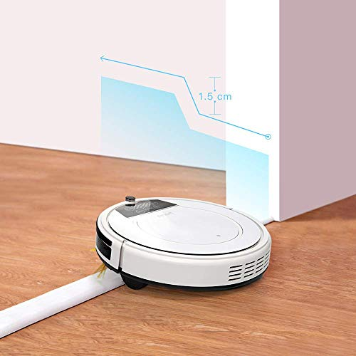 Fmart 1200Pa Robot Aspirador de Limpieza, Carga automática, Limpieza húmeda y Seca, Limpieza automática, Limpieza de Cabello de Mascotas y Pelo de Humano Robot Inteligente Aspirador E-550W(S)