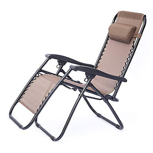 CYSHAKE Schwerelosigkeits-Stuhl-faltender Garten-Recliner im Freien, Faltbarer Terrassen-Patio-Rasen-Strand-Stuhl mit Kissen-Unterstützung 200kg (Color : Brown) (Brown-patio-stuhl-kissen)