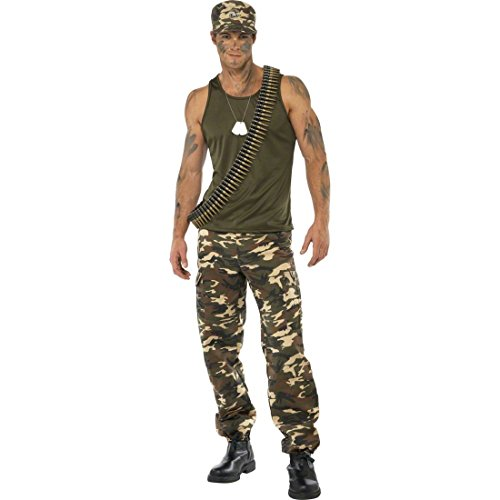 Armee Kostüm Soldat Männer - NET TOYS Soldat Kostüm Soldatenkostüm Khaki L 52/54 Herrenkostüm Army Krieger Kämpfer Armee Militär Uniform Karnevalskostüme Männer