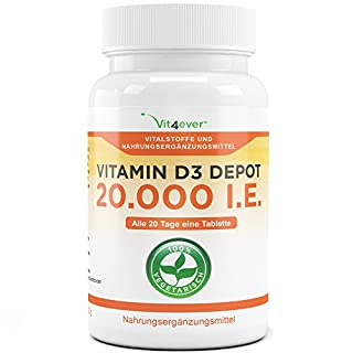 Vitamin D3 20.000 I.E. Depot 240 Tabletten - Hochdosiert - 20 Tagesdosis 1000 I.E. pro Tag - Vitamin D - Alle 20 Tage eine Tablette - Vit4ever