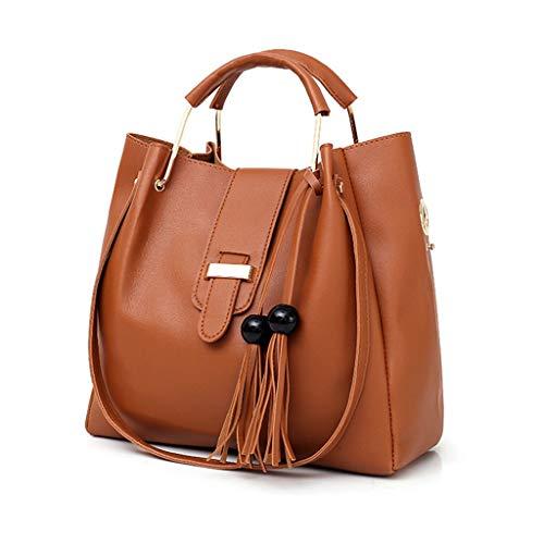 Kobay 3Pcs Damen Handtasche Elegante Retro Muster Handtasche Schultertasche + Kartenpaket