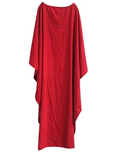 Youlee Donna Estate Primavera Lino Cotone Taglia Grossa Vestito Rosso