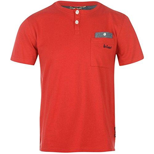 Lee Cooper bambini Junior maglietta a maniche corte Chambray Grandad T da ragazzo Tee Top rosso Small