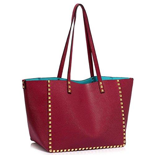 xardi Londra grande morbida in similpelle borsa donna borsa a tracolla ragazze Collegio Borsa Custodia Con Cerniera Burgundy
