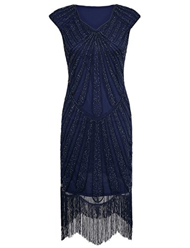 PrettyGuide Damen 1920er CocktailKleid Perlen Art Deco Flapper Charleston Kleid L Marine (Charleston Kleid Flapper)