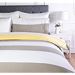 AmazonBasics - Juego de ropa de cama con funda de edredón, de microfibra, 200 x 200 cm, Gris raya reversible (Reversible Grey Stripe)