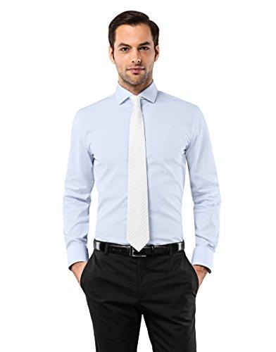 Vincenzo boretti camicia uomo eleganti, taglio aderente/slim-fit, colletto francese, manica lunga, in tinta unita - non stiro/non-iron azzurro 37/38