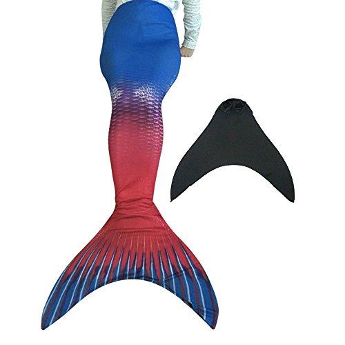 Meerjungfrauenschwanz mit Meerjungfrau Flosse für Kinderschwimmen Schwimm Cosplay Mädchen Badeanzuge Meerjungfrau-Schwanz (Schwänze Meerjungfrau Rot Schwimmen Zum)