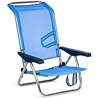 SOLENNY - Silla plegable de playa de aluminio, 4 posiciones y asas para el transporte, tejido textiline transpirable en color azul