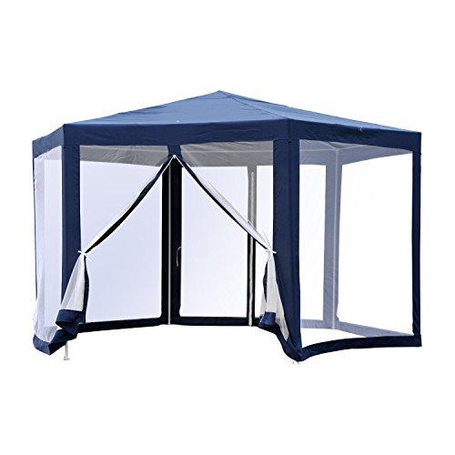 Outsunny gazebo esagonale moderno e versatile da giardino in tessuto e metallo 195×250cm blu bianco