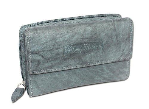 Leder Geldbörse Damen Geldbeutel Brieftasche Portemonnaie für Frauen Wallet Purse umlaufender Reißverschluss (grau-blau) 12136 - Leder Damen-medium Wallet