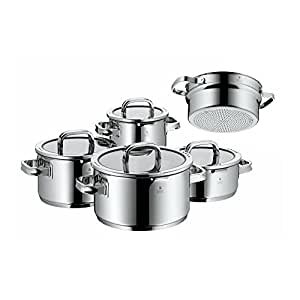 wmf 761056380 function 4 cookware set with steamer insert stainless steel transparent 20 cm. Black Bedroom Furniture Sets. Home Design Ideas