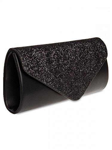 Caspar Ta332 Elegante Borsa Da Sera Con Pochette Glitterata Xl Grande Nera