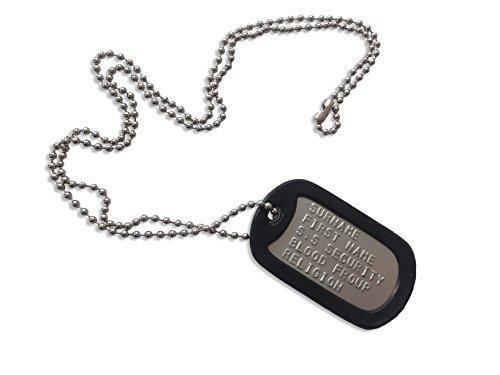 ungsmarke US Dog Tag - EIN personalisierten Erkennungsmarke im Armeestil mit Stahl Kugelkette 66cm (Militärische Personalisierte Dog Tags)