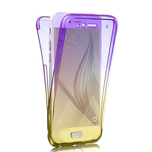 Karomenic 360 Grad Silikon Hülle kompatibel mit iPhone SE/5S/5 Fullbody Case Komplettschutz Handyhülle Vorne & Hinten Rundum Schutzhülle Ganzkörper Dünn Durchsichtige Bumper Etui,Lila Gelb (E-mail-iphone 5 Fall)