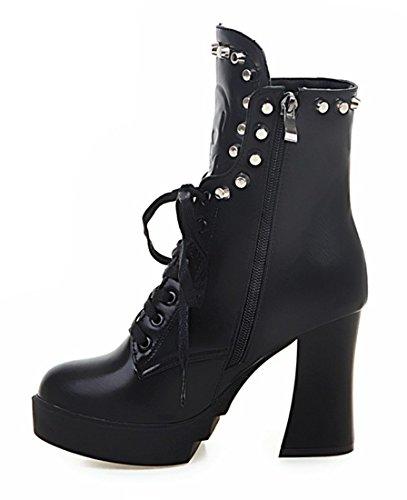 YE Damen Blockabsatz Stiefeletten High Heels Plateau mit Schnürung und Nieten Reißverschluss 9cm Absatz Ankle Boots Schwarz
