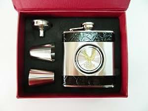 COFFRET Cadeau chasseur fiole noir flasque whisky jack métal + 2 gobelets + entonnoir