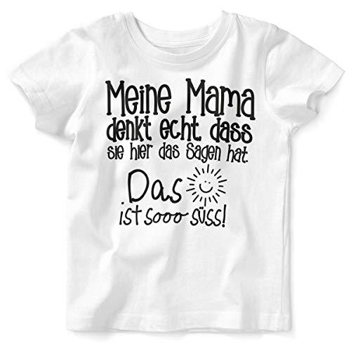 Mikalino Baby/Kinder T-Shirt mit Spruch für Jungen Mädchen Unisex Kurzarm Meine Mama Denkt echt | handbedruckt in Deutschland | Handmade with Love, Farbe:Weiss, Grösse:56/62