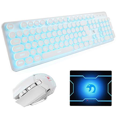 Hoopond Wiederaufladbare 2,4 G kabellose Tastatur und Maus Kombination Blau LED Atmen Hintergrundbeleuchtung Gaming Tastatur 6 Tasten Regenbogen Flash 2400 DPI Einstellbare Gaming Maus (Weißes )