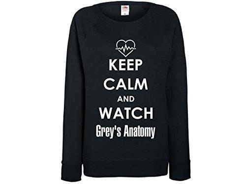 Damen Sweatshirt mit Druck Keep Calm and watch Grey's Anatomy (L)
