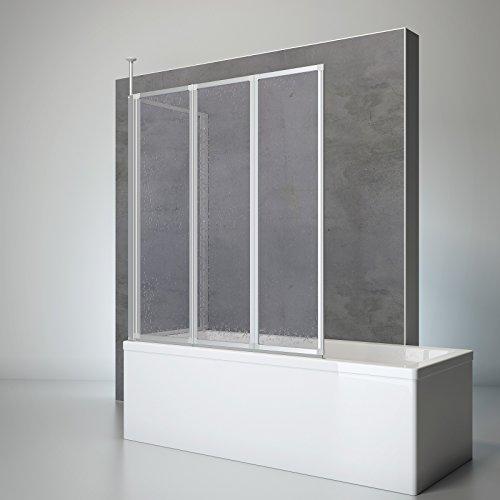 Schulte Duschwand Well mit Seitenwand, 129 x 140 x 75 cm, 3-teilig faltbar, Kunstglas Tropfen-Dekor, alu-natur, Duschabtrennung für Wanne
