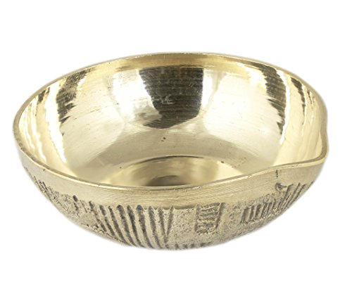 Indian Brass Oil Lamp - Diya Wick Lamp Diwali Light Candle Antique Brass Mini Lamp - 1.5 x 2.2 x 2.2 Inch  available at amazon for Rs.170