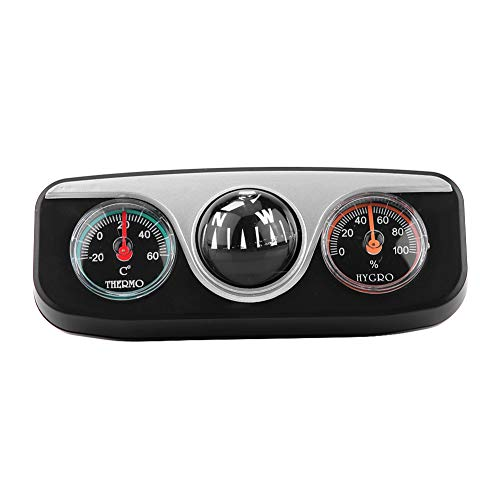 Dash Mount Navigationsrichtungs-Kompass-Thermometer Hygrometer 3 in 1 Führungskugel, multifunktionaler Kompass für PKW-LKW-Boote -