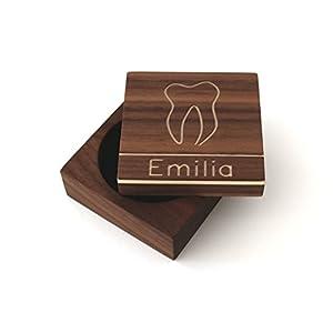 Zahndose für Milchzähne mit Namen Milchzahndose mit Gravur Zahnbox aus Holz Zahnfee Box Holzdose Geschenk Einschulung zur Geburt Taufgeschenk personalisiert Baby Jungen Mädchen