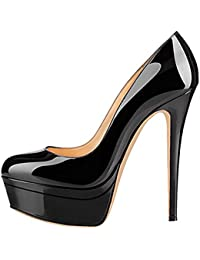 onlymaker Women's Fashion Super High Heel Slip On Stiletto Pump Double Platform Closed Toe Wedding Party Shoes