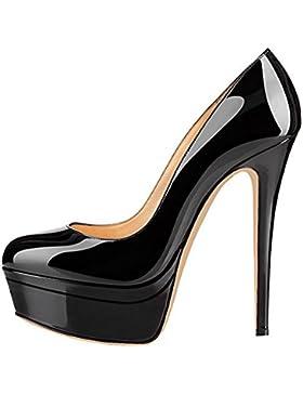 Onlymaker Damen Open Toe Plateau Stiletto High Heel Pumps Schluepfen Party Hochzeit Schuhe