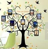 HALLOBO Wandtattoo Fotobaum Fotorahmen Stammbaum Baum Wandaufkleber Baum Familienbaum Wandsticker Wall Sticker Wohnzimmer Schlafzimmer Deko
