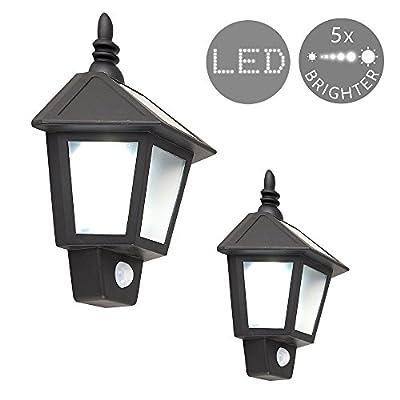 Set of 2 - Outdoor Solar Powered LED Black Wall Mounted PIR Motion Sensor Garden Lantern Lights - inexpensive UK light store.