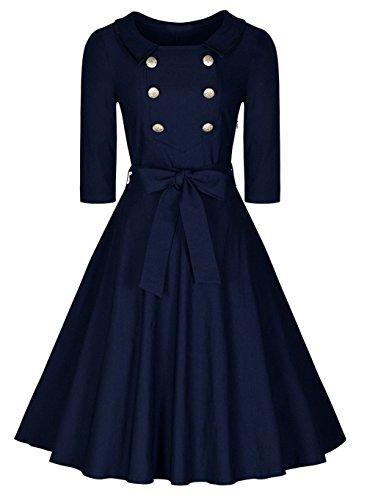 Pinkyee Damen A-Linie Kleid Navy