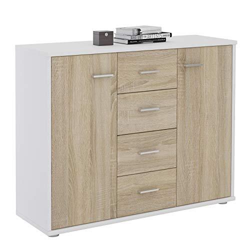 IDIMEX Buffet Elodie, Commode Meuble de Rangement avec 4 tiroirs et 2 Portes, en mélaminé Blanc Mat et décor chêne Sonoma