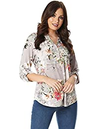 2232f309df5294 Roman Originals Women Floral Jersey Shirt - Ladies Casual 3 4 Length Sleeves  Holiday Print