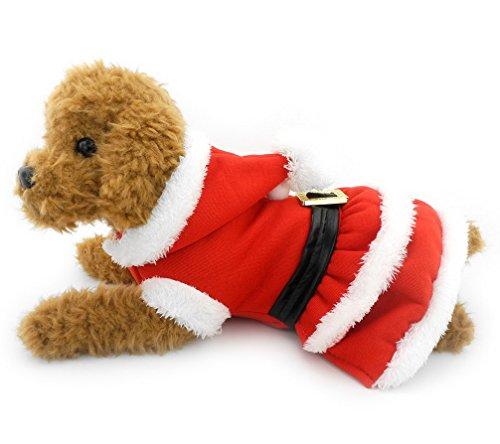 Kostüm Santa Große Extra Hunde - ranphy Yorkie Kleidung Hund Weihnachten Pullover Santa Hund Kleid Coat Doggy Kostüm Kleid mit Kapuze Gürtel verziert Winter Hoodies für Hunde