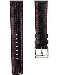 Correa del reloj Geckota® D-1 Fibra de Carbón, Negro, Rojo, 20mm