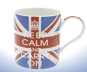 Keep Calm and Carry On Fine China Mug (Union Jack) - Boxed mug by The Leonardo Collection -