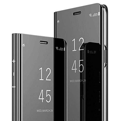 Uposao Kompatibel mit Huawei P30 Lite Hülle Überzug Spiegel Flip Hülle Mirror Make-Up Clear View Schutzhülle Handytasche Brieftasche Wallet Tasche Leder Hülle Booklet Case Cover,Schwarz