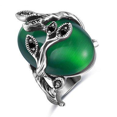 MJW&G Damen Statementringe Ring Verlobungsring Synthetischer Opal Basis Einzigartiges Design USA Brautkleidung Chrismas Klassisch Elegant , green , 6 Synthetische Opal Verlobungsring