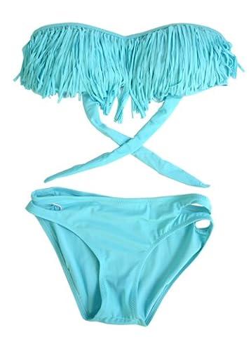 SODACODA Fringe Bandeau Bikini With Cut Out Bottoms - 2pcs Set (L, Turquoise)